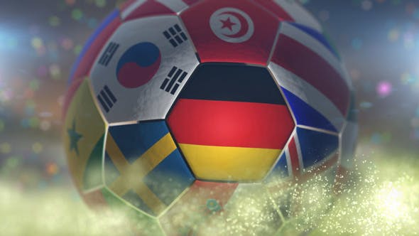 Thumbnail for Germany Flag on a Soccer Ball - Football Fly with Particles