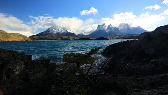 Lake Pehoe at Dawn at Torres Del Paine in Chile