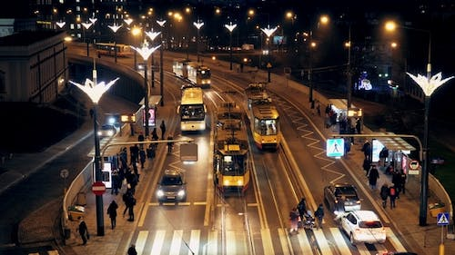 Movement in the Evening Time of Public Transport in the City of Warsaw