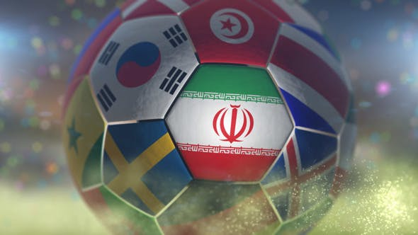 Thumbnail for Iran Flag on a Soccer Ball - Football Fly with Particles