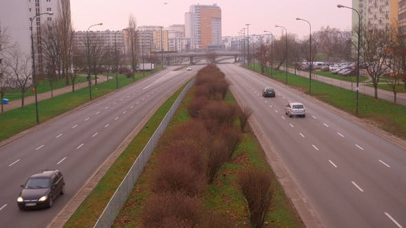 Thumbnail for Morning Traffic on the Road in a Sleeping District in the City of Warsaw.