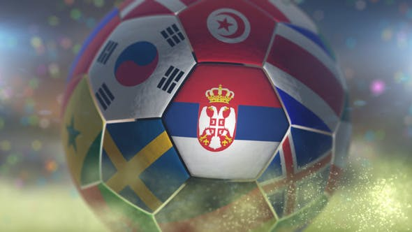 Thumbnail for Serbia Flag on a Soccer Ball - Football Fly with Particles