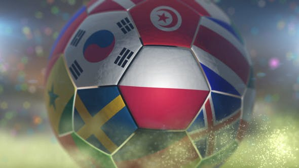 Thumbnail for Poland Flag on a Soccer Ball - Football Fly with Particles
