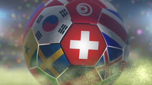 Thumbnail for Switzerland Flag on a Soccer Ball - Football Fly with Particles