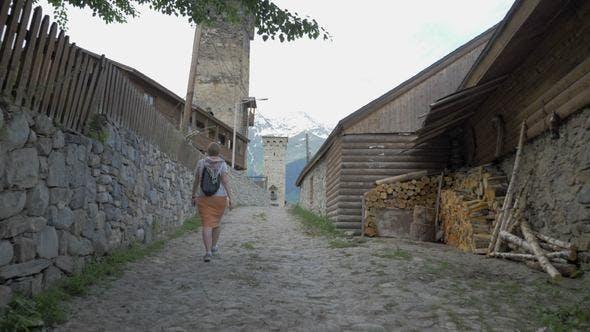 Thumbnail for Girl Walks in the Old City Mestia, Georgia