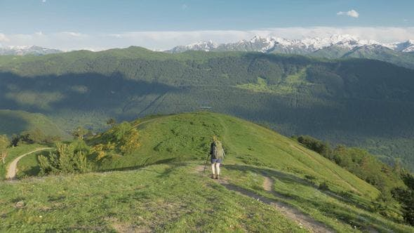 Girl Hikes in the Mountains - Koruldi Lakes Area, Mestia,Georgia