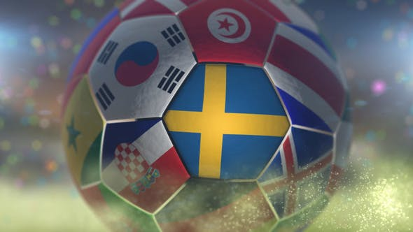 Thumbnail for Sweden Flag on a Soccer Ball - Football Fly with Particles