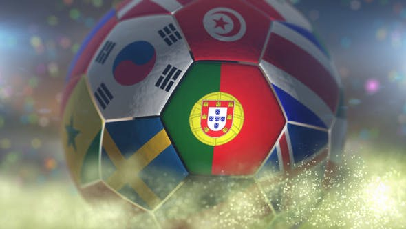 Thumbnail for Portugal Flag on a Soccer Ball - Football Fly with Particles
