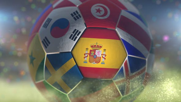 Thumbnail for Spain Flag on a Soccer Ball - Football in Stadium