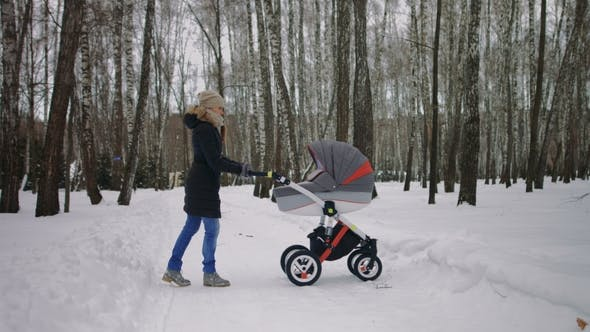 Beautiful Mother Pushing Pram in the Winter Park.