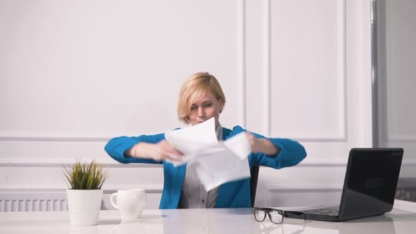 Thumbnail for Tired Businesswoman Throws Paper