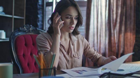 Thumbnail for Nervous Woman Calling Mobile Phone. Financial Analyst Working in Office