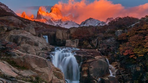 Beautiful View with Waterfall and Fitz Roy Mountain. Patagonia