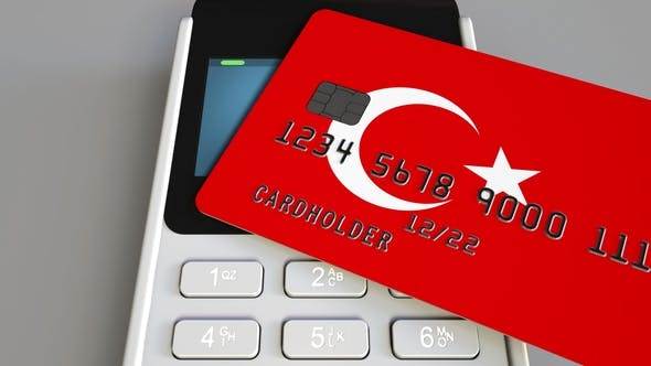 Thumbnail for Payment Terminal with Credit Card Featuring Flag of Turkey