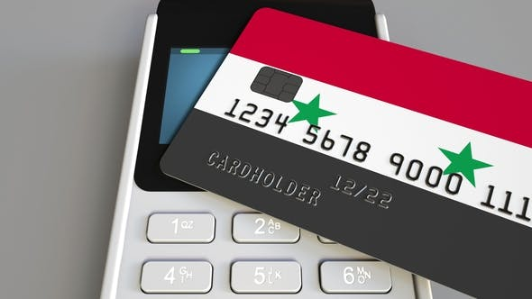 Cover Image for POS Terminal with Credit Card Featuring Flag of Syria