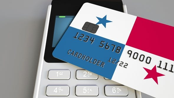 Cover Image for POS Terminal with Credit Card Featuring Flag of Panama