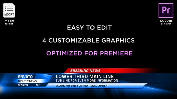 Thumbnail for Broadcast News Lower Thirds | MOGRT for Premiere Pro