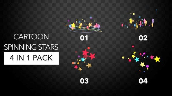 Thumbnail for Cartoon Spinning Stars Pack