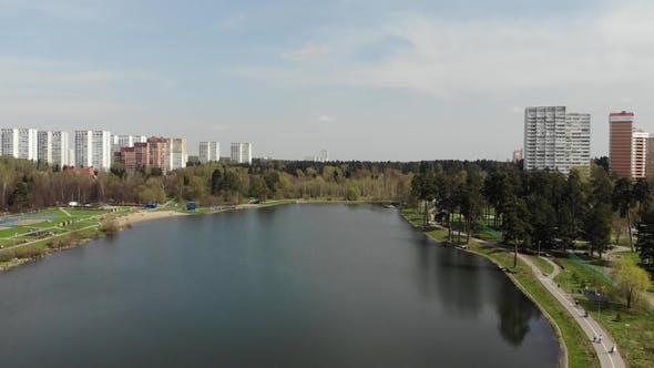 Thumbnail for Top View on School Lake in Zelenograd Administrative District of Moscow, Russia