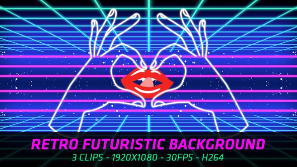 Thumbnail for Retro Futuristic Background (3 in 1)