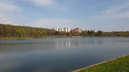 Lake in Zelenograd Administrative District of Moscow, Russia