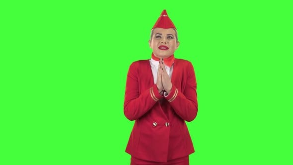 Thumbnail for Stewardess Crossed Her Fingers. Green Screen
