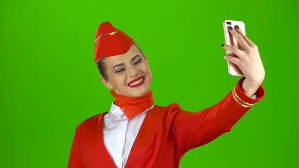 Thumbnail for Stewardess Does Selfie. Green Screen