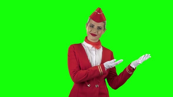 Thumbnail for Girl Tells Something About the Planes. Green Screen