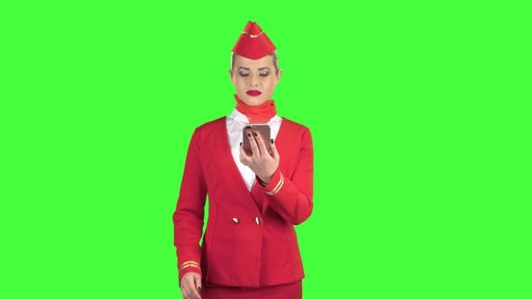 Thumbnail for Woman with the Phone and Writes a Message . Green Screen