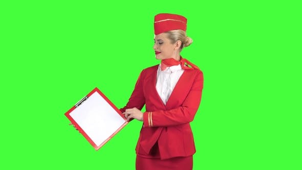 Thumbnail for Stewardess Raises a Red Folder with a White Sheet of Paper. Green Screen