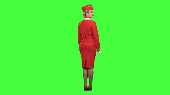 Thumbnail for Stewardess Shows with a Gesture That Everyone Would Stay on the Ground. Green Screen. Back View