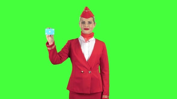 Thumbnail for Girl Raises a Card and Shows a Finger Up. Green Screen