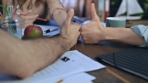 Thumbnail for of Business People Hands Showing Thumbs Up. Team Work Concept