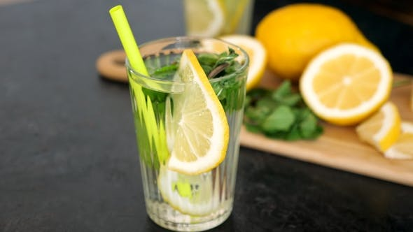 Delicious Homemade Lemonade with Lemon and Mint