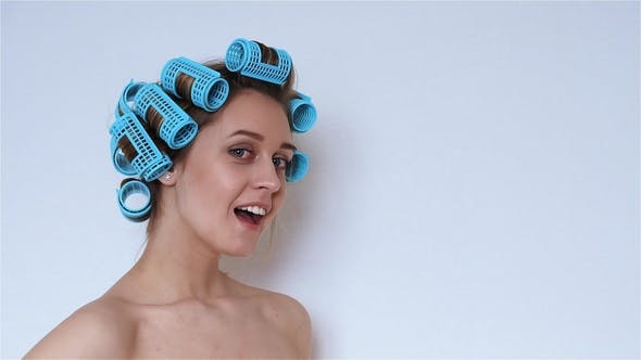 Thumbnail for Beautiful Happy Girl in Hair Curlers Isolated