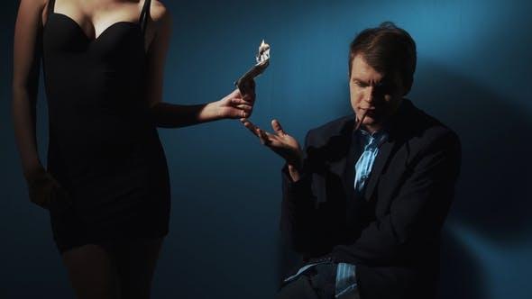 Thumbnail for Money Burning - Businessman Arrogant with a Girl