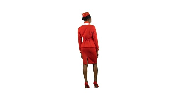 Thumbnail for African American Stewardess Girl Greets Everyone on Board. Alpha Channel. Back View