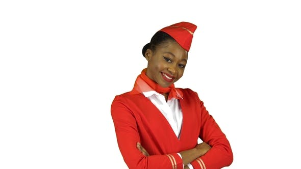 Thumbnail for Stewardess Stands and Flirts. Alpha Channel
