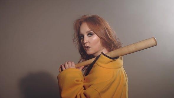 Thumbnail for Cute Sexy Girl Posing with Baseball Bat