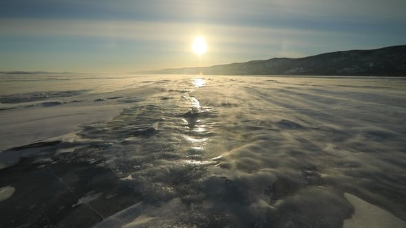 Thumbnail for Winter Baikal. Strong Wind on the Ice, Drifting Snow.