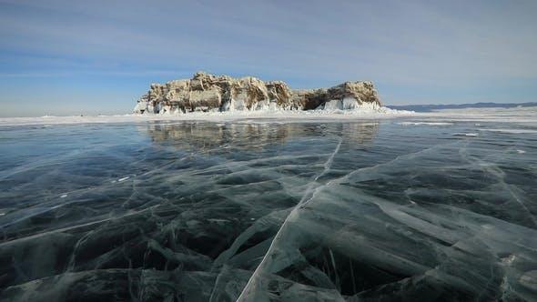Winter Baikal. Elenka Island at Sunset