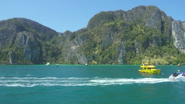 Thumbnail for View on Rocks of Phi Phi Island From Boat
