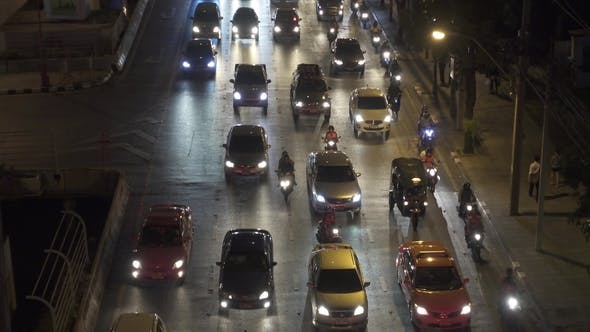 Traffic Jam on the Streets of Bangkok, Thailand