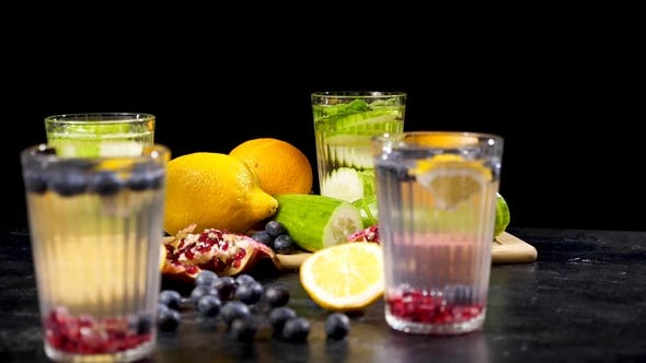 Thumbnail for Detox Water and Fresh Cutted Fruits and Vegetables