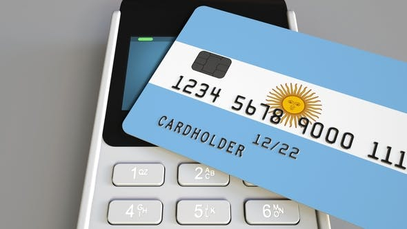 Thumbnail for Payment Terminal with Credit Card Featuring Flag of Argentina