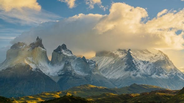 Thumbnail for View of Torres Mountains in the Torres Del Paine National Park During Sunrise. Autumn in Patagonia