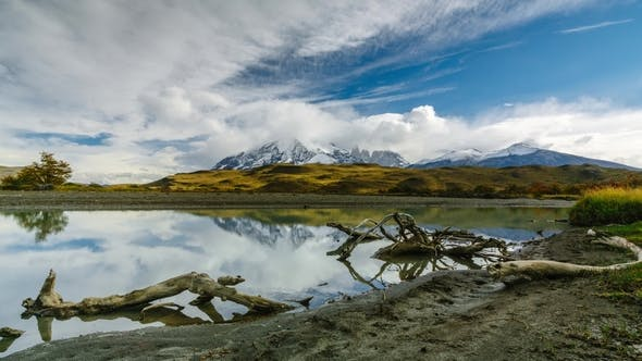 Thumbnail for View of the Mountains and the River in Torres Del Paine National Park. Autumn in Patagonia