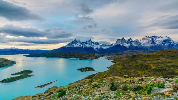 Thumbnail for View of Torres Mountains in the Torres Del Paine National Park During Sunset. Autumn in Patagonia