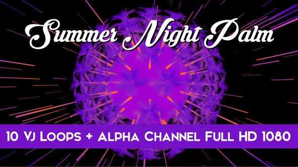 Thumbnail for Summer Night Palm Vj Loops Pack