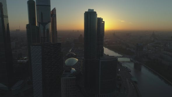 Thumbnail for Skyscrapers of Moscow City Business Center and City Skyline at Sunny Sunrise. Aerial View